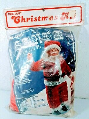 Fibre Craft Christmas Crochet Doll Kit Santa Claus 1982 1420 13""