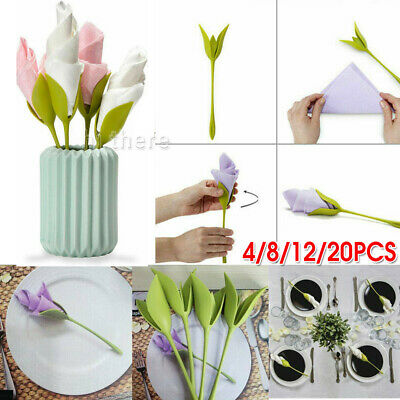 4-20x Bloom Napkin Holders - Flowers Floral Green Design for Table Decoration AU