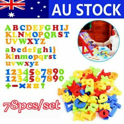 78PCS Magnetic Numbers Letters Alphabet Learning Toy Fridge Magnets Xmas gift DM
