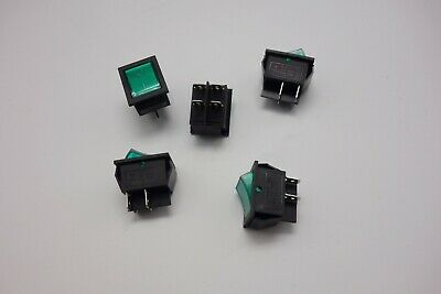 5Pcs Green 220V Light Illuminated 2 Position ON/OFF Boat Rocker Switch 4 Pin