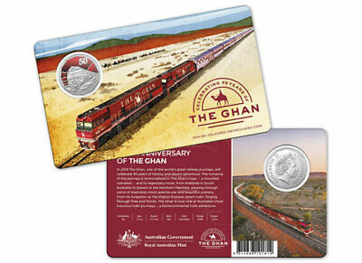 Australia 2019 50 Cents Ghan Train Coloured Uncirculated Coin