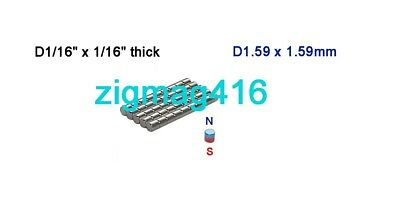 """D1/16"""" x 1/16"""" thick, N52, Rare Earth, Neodymium Disc Magnet - Pack of 50"""