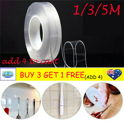 1/3/5M Multifunctional Double-Sided Adhesive Tape Traceless Washable Removable G