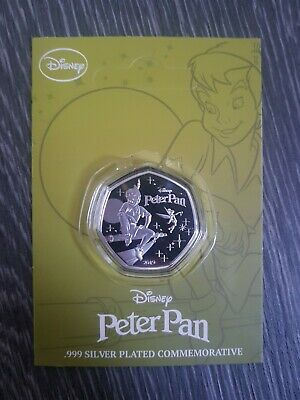 2019 Disney Peter Pan - 50p Style Silver Plated Commemorative Medal Coin NEW