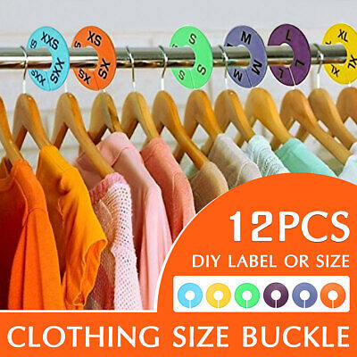 12Pcs Clothing Round Size Dividers Blank Rack Clothes Stores Hangers Ring Tags