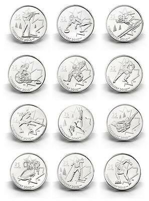 2007 - 2009 Canada Vancouver Winter Olympics 12 Quarter 25 Cent Collection UNC