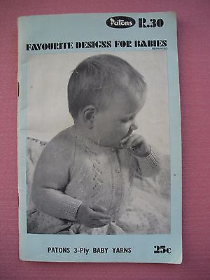 Vintage Patons Pattern Book R30 - Favourite Designs for Babies - 3ply Knitting