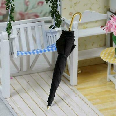 1Pc Mini Black Umbrella For 1:12 Miniature Dollhouse : Room Decoration F2M3