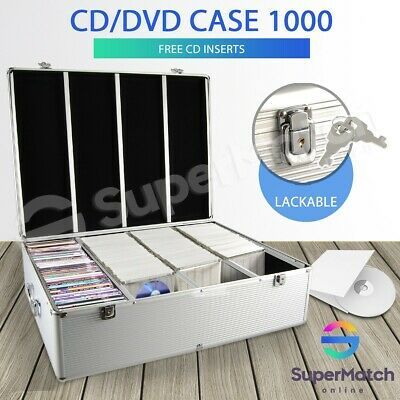 Aluminium CD Case DVD Bluray Storage Lockable Box 1000 Discs SL Holds Folder