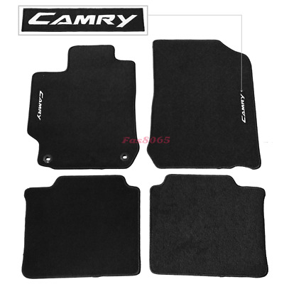 Fits 12-17 Toyota Camry Black Nylon Floor Mats Carpets w/ Camry Embroidery
