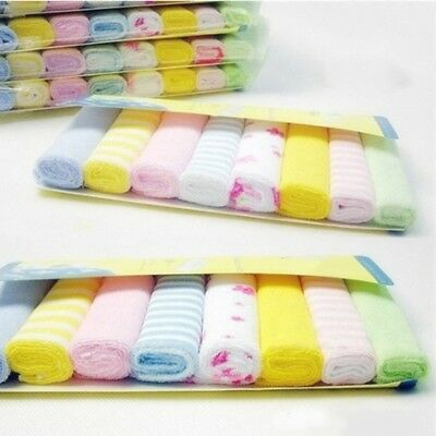 8Pcs Baby Cotton Square Muslin Burp Cloth Bib Comforter Nappy Wipe Small UK New