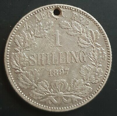 1897 South Africa - Shilling (Trench Art) Kruger with Hat & Pipe & Collar..Read.