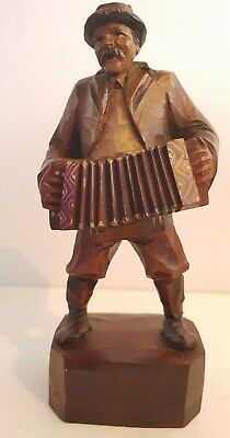 Carved Wooden Figure - Accordian Player