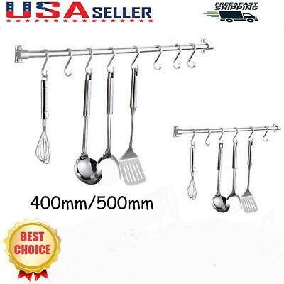 40/50cm Kitchen Rail Rack Wall Mounted Utensil Storage Hanging Hanger 6/8 Hooks