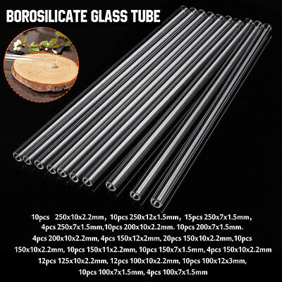 18 Types 4-20Pcs 100-250mm Thick Wall Borosilicate Glass Blowing Tube Pyrex Lab