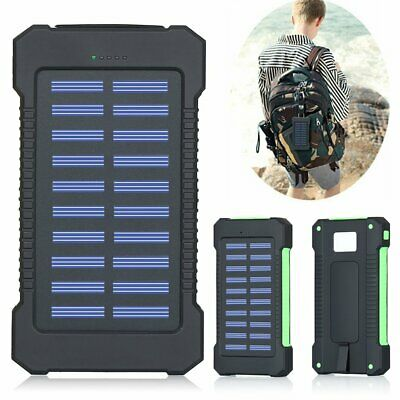 Solar Waterproof 500000mAh Power Bank 2 USB LED External Battery Fr Mobile Phone
