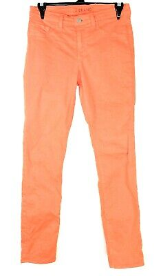 J Brand Jeans Womens 27 Bright Orange Skinny Leg Pants Trousers Ladies USA Made