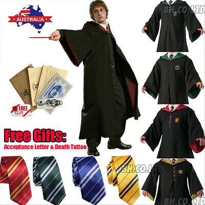 Harry Potter Gryffindor Robe Tie Scarf LED Wand Cosplay Costume Halloween
