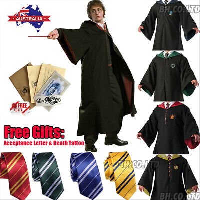 Harry Potter Gryffindor Robe Cosplay Costume Tie Scarf LED Wand Halloween