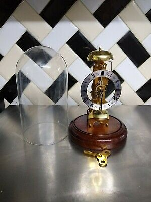 Franz Hermle, Skeleton Clock.brass and glass dome