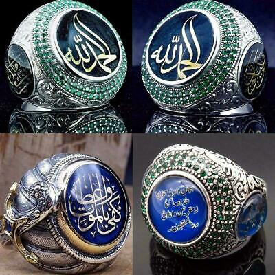 Turkish Handmade Jewelry Silver İslamic Men's Ring 7-10 Size F6A5