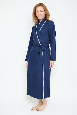 Nora Rose 'Adele' Navy Blue Ladies Cotton Dressing Gown ~ Size 8 (1296)