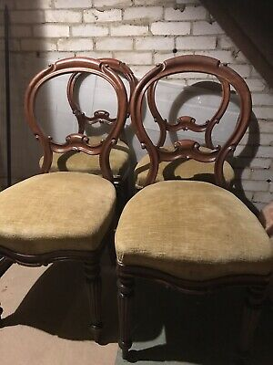 Set 4 Victorian Dining Chairs - Good Condition Except One Requires Restoration