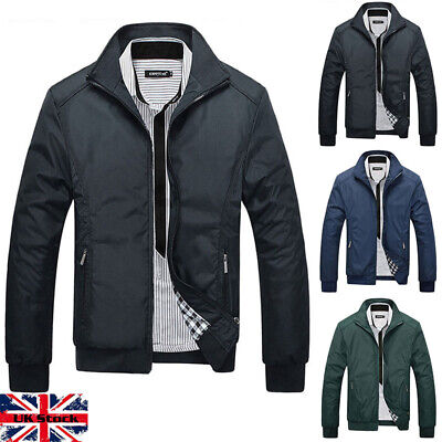 Mens Casual Jacket Summer Lightweight Bomber Coat Stand Collar Tops Outerwear UK