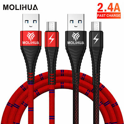 Heavyduty Braided Micro USB Charger Fast Charging Lead Data Sync Cable 1M 2M UK