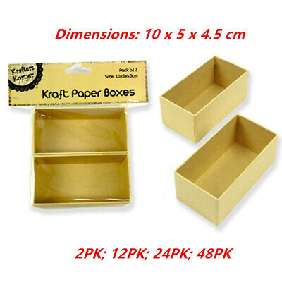 Rectangular Paper Mache Kraft Box High Container Storage Brown Craft Boxes