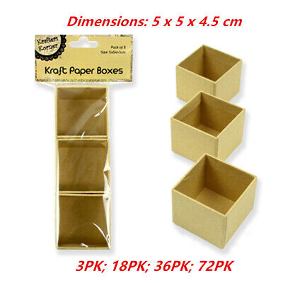 Square Paper Mache Kraft Box High Container Storage Brown Craft Boxes 5x5x4.5cm
