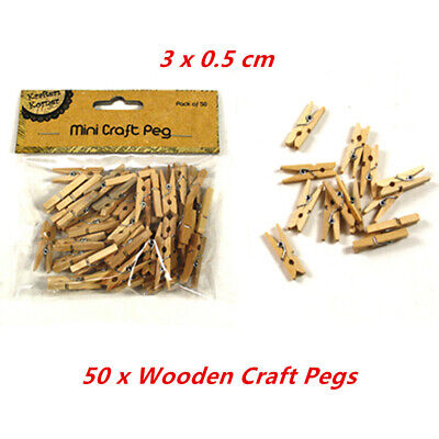 50pk Mini Wooden Craft Pegs 3cm Natural Wood Photo Paper Kraft Cloth Shower