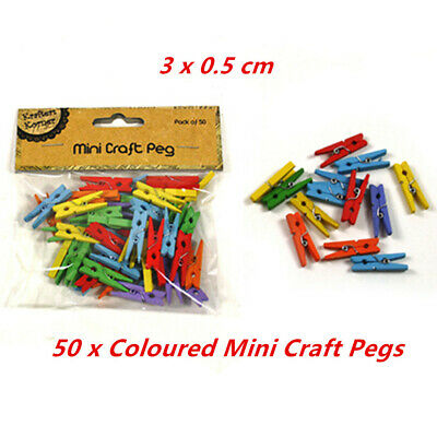 50 Coloured Mini Wooden Craft Pegs Clips Photo Paper Hanger Wood Small Clothes