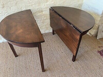 George III solid mahogany dining table folding centre leaf- great colour