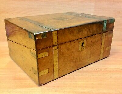 Victorian Walnut Brass Bound Writing Slope With Secret Drawers.