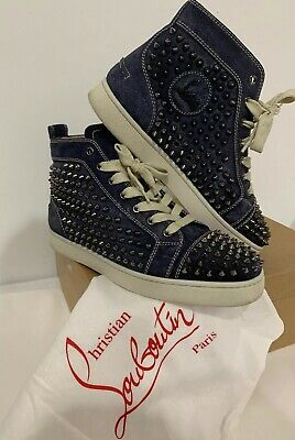 10f95b662bb CHRISTIAN LOUBOUTIN PURPLE & Gold Glitter High Top Sneakers - Us8 ...