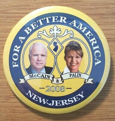 New Jersey for McCain Palin 2008 Campaign Button