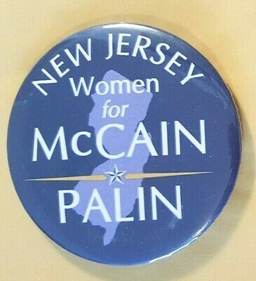 New Jersey Women for McCain Palin Campaign Button from 2008
