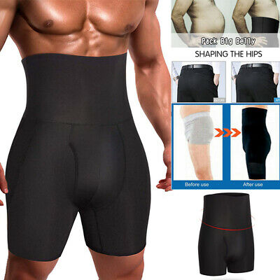 Mens Compression High Waist Boxer Shorts Tummy Slimming Body Shaper Girdle Pants