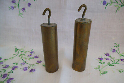 Pair of Antique Brass Cased Long Case Clock Weights