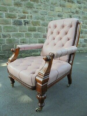 Antique Walnut & Leather Library Armchair