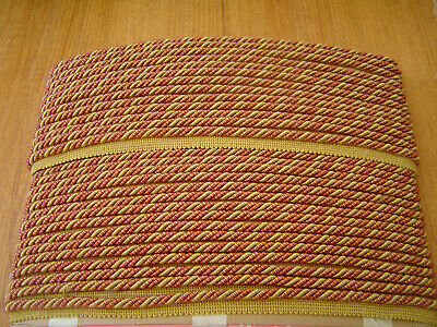 Upholstery Tri Colour Red/Gold Flanged Piping Cord - 30 metres
