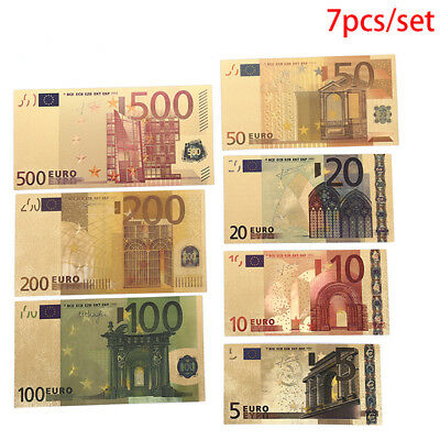 7pcs/Set Euro Gold Foil Paper Money Arts Crafts Collection Gifts Non Currency CR