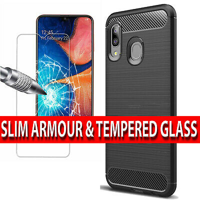 Case For Samsung Galaxy A40 Shockproof Silicone Cover & Glass Screen Protector