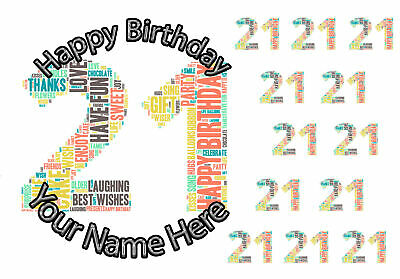 """7.5"""" Cake Topper, 12 cupcakes 21st Birthday personal Rice paper,Icing fondant.99"""
