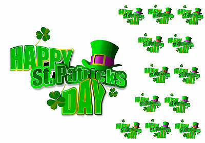 """7.5"""" Cake Topper, 12 cupcakes St Paddys personal Rice paper,Icing fondant.805"""