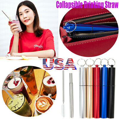 US HOT Portable Foldable Metal Stainless Steel Drinking Straw+Cleaning Brush Set