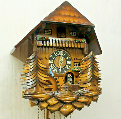 Old Cuckoo Wall Clock Black Forest wit Carillon music box  with 2 melody