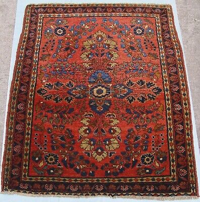 """Antique Sa rouk Hand-Knotted Wool Wonderful Oriental Rug 2' x 2'6"""" Hand washed"""