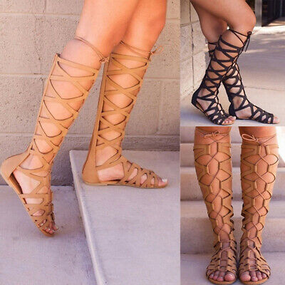Women Knee High Gladiator Sandals Beach Strappy Flat Shoes Cut Out Lace Up Boots